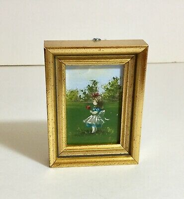 Vintage Miniature Painting for Doll House Girl with Red Flower in Blue Dress