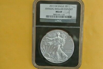 2013-W Burnished Silver Eagle NGC MS69 UNC (2013 Annual Dollar Set) - Spotted