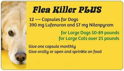 Flea PLUS Pills to Kill Fleas on Dogs of 50-89 pounds ~~ 12 Yellow Monthly Caps