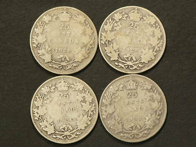 Canada Silver 25 Cents 1928 1929 1930 & 1933   #G8474
