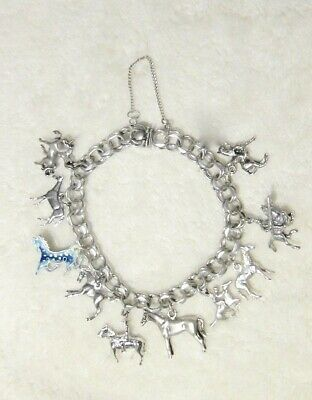 Estate 50-80s Ster EQUINE Equestrian HORSE charm BRACELET riders race mare foal