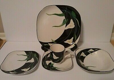 Sango Quadrille Black Lilies 5 Piece Place Setting