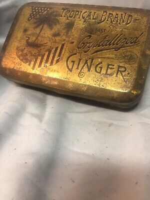 vintage Tropical brand crystallized ginger palm trees 1/2 Pound RARE Tin