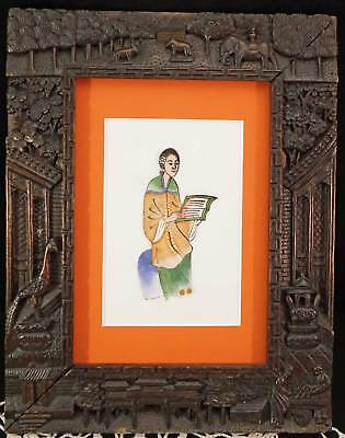 Small Folk Art Type Asian Painting Young Lady In Exquisite Carved Wood Frame