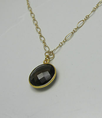 Smoky Brown Quartz Bezel 15mm Round Gemstone Gold Filled Necklace