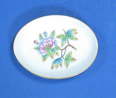 HEREND China QUEEN VICTORIA Décor PEONY Flower Vintage Porcelain BUTTER PAT TRAY