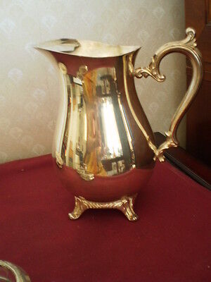 "Vtg 9 "" Silverplate Footed Serving Pitcher With Ice Lip - Wm Rogers 817"