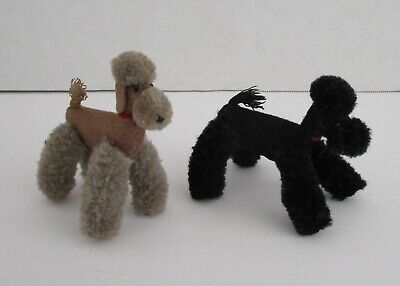 Steiff poodle dog lot of two vintage miniature gray black red collar no ID wool