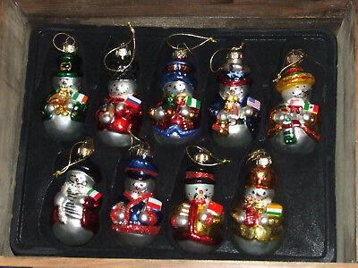 Thomas Pacconi Classics Set of 18 Blown Glass Santa Ornaments In Wood Crate 2003
