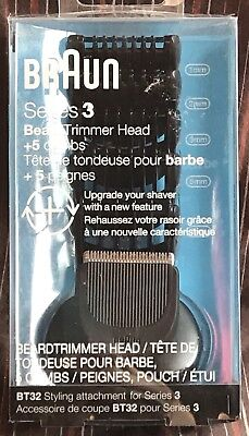 NEW Braun Series 3 BT32 Beard Trimmer replacement Head with 5 attachment Combs