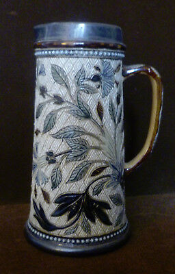 Doulton Lambeth Ale Pitcher, Blue Thistle, Raised Dots, Sterling Rim Signed 1878
