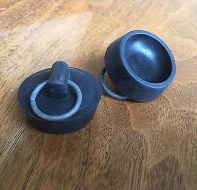 "1940 NEW OLD STOCK Black Basin Sink Stopper 1 1/4"" Lot Of 2"