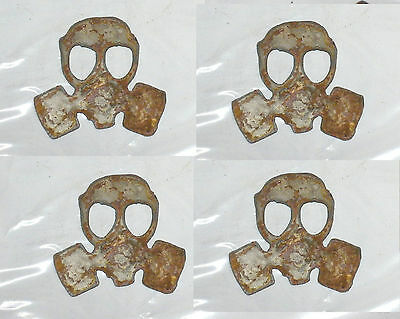 "Lot of 4 Gas Mask Shapes 3"" Rusty Metal Vintage Steampunk Ornament Craft Sign"