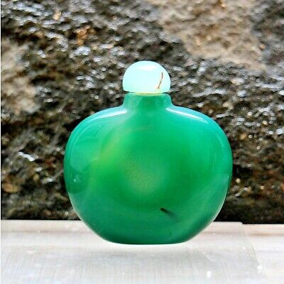 China Exquisite Hand-carved Natural Polished Green Agate Bottle 58x53x20mm 70g