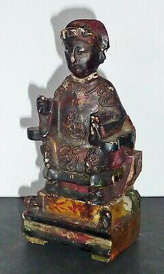OLD Chinese polychrome WOOD religious TEMPLE ancestor folk figure carving shrine