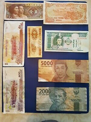 Nice old 9 Bank Note Currency Money No Reserve lot bundle mix world collector A