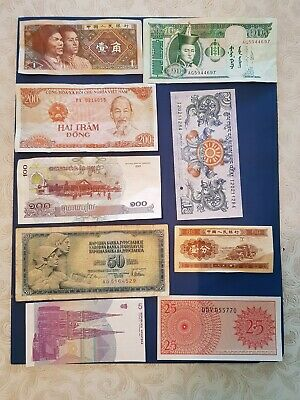 Nice old 9 Bank Note Currency Money No Reserve lot bundle mix world collector F