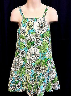 Baby Gap Girl's Blue Green White Floral Print Seersucker Dress Size 2T EUC