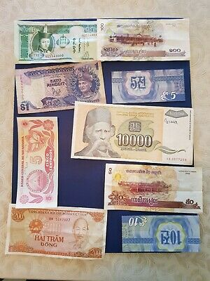 Nice old 9 Bank Note Currency Money No Reserve lot bundle mix world collector J
