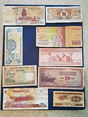 Nice old 9 Bank Note Currency Money No Reserve lot bundle mix world collector K