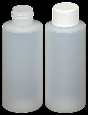 Plastic Bottle (HDPE) w/White Lid, 2-oz. 6-Pack, New