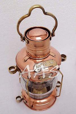 "Nautical Maritime Ship Lantern 14"" Brass & Copper Anchor Boat Light Oil lamp"