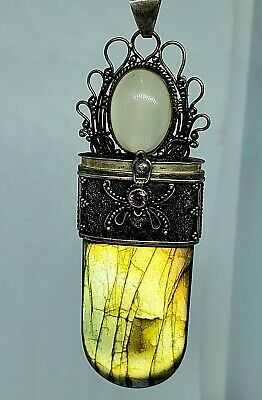 VTG Pill Box Poison Locket Pendant Labradorite Moonstone Sterling 925 Silver WOW
