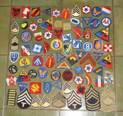 WWII GROUPING OF US American Army patches Cut Edge, No Glow