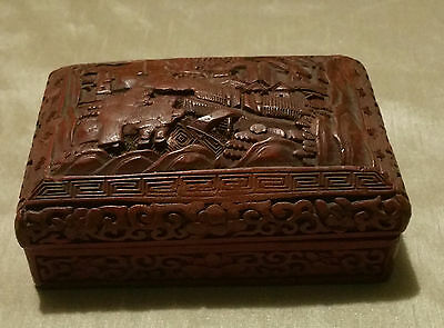 "Antique Old Vintage Chinese Cinnabar Carved Red Lacquer box  5.5""X3.5"""