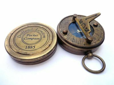 Brass Sundial Compass Vintage Dollond London Nautical Antique compasses solid