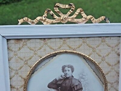 Antique French Bow-Bronze-Fabric-Wood Brass Bow-Top Picture Frame-France-Marked