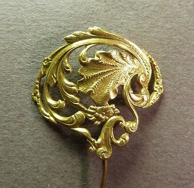 Lovely French Antique Art Nouveau Flowers Brass Pin