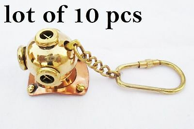 Lot Of 10 Pc New Brass Divers Helmet Keychain Nautical Maritime Yatching Diving