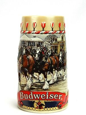 Budweiser Holiday Clydesdales Beer Stein 24oz Mug 1986 Collector Xmas 3D Relief