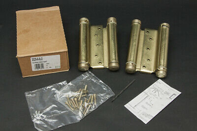 """Pair 6"""" Bommer 3029-6-633  Double-Acting Spring Hinge Mortise Satin Brass NOS"""