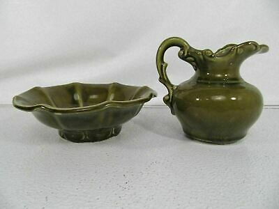 McCoy Mini Pitcher and Bowl Vintage Green Embossed Creamer Bowl Made In USA