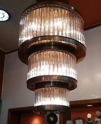 Vintage Antique Art Deco Ship Glass Rod Ceiling Fixture 12 Light Chandelier Lamp