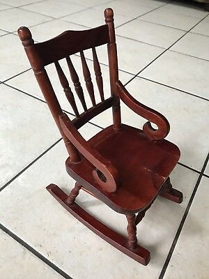 ANTIQUE Doll Salesman Sample Miniature FOLK ART Wood Rocking Chair AMERICANA