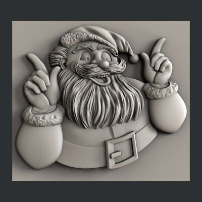 3D Model STL for CNC Happy New Year Aspire Merry Christmas Santa Claus D743