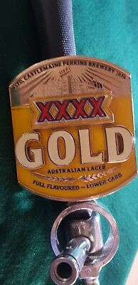 XXXX Gold beer tap. Double sided badge and matching tap handle