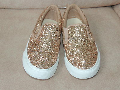 9db182d3aea7 Youth Girls Shoe Size 4 GAP KIDS Rose Gold Glitter Slip On Sneakers Shoes  NEW