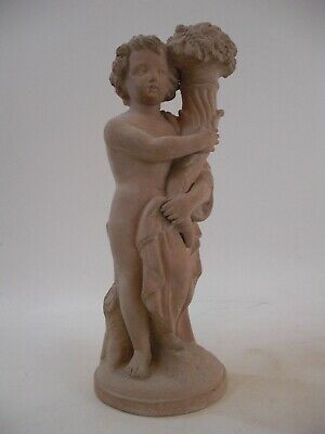 "12"" Terra Cotta - Cherub Putti Candlestick Figurine French Grand Tour Style 1of2"