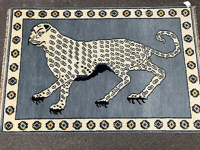 4x6 HAND KNOTTED RUG WOOL NEW oriental persian cat blue grey modern pictorial