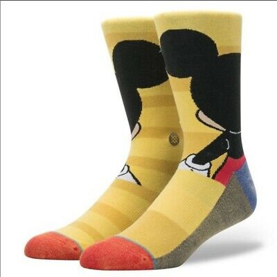 Stance Men's L Large 9-12 Disney Mickey Mouse Crew Socks Combed Cotton 545 NEW