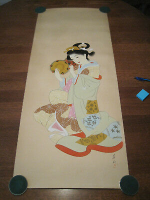Vintage long signed Japanese silk or rice paper Geisha girl painting #8