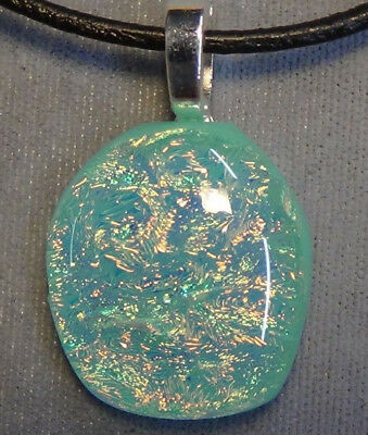 blue dichroic glass pendant sparkle fused glass #92