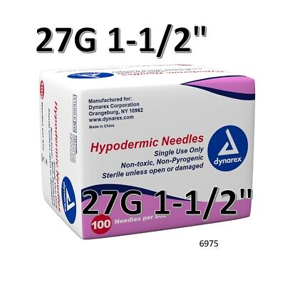 """Dynarex Hypodermic Sterile Needles 100CT ,27G 1-1/2"""" FAST FREE SHIPPING O 6975"""