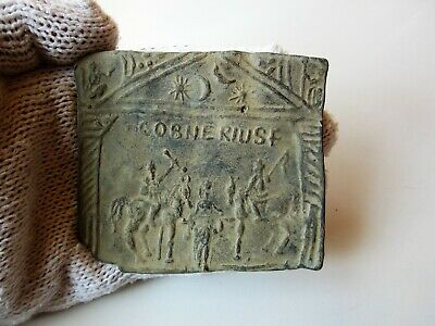 Roman lead votive figure plate with inscription / COBNERIUSF /. No Reserve.