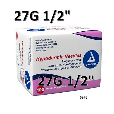 """Dynarex Hypodermic Sterile Needles 100CT ,27G 1/2"""" FAST FREE SHIPPING O 6976"""