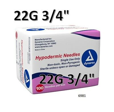 """Dynarex Hypodermic Sterile Needles 100CT ,22G 3/4"""" FAST FREE SHIPPING O 6981"""